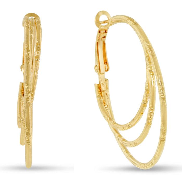 1.5 inch Yellow Gold Diamond Cut Triple Hoop Earrings