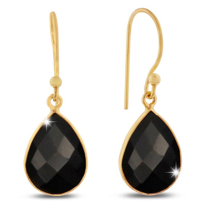 12ct Black Onyx Teardrop Earrings in 18k Gold Overlay
