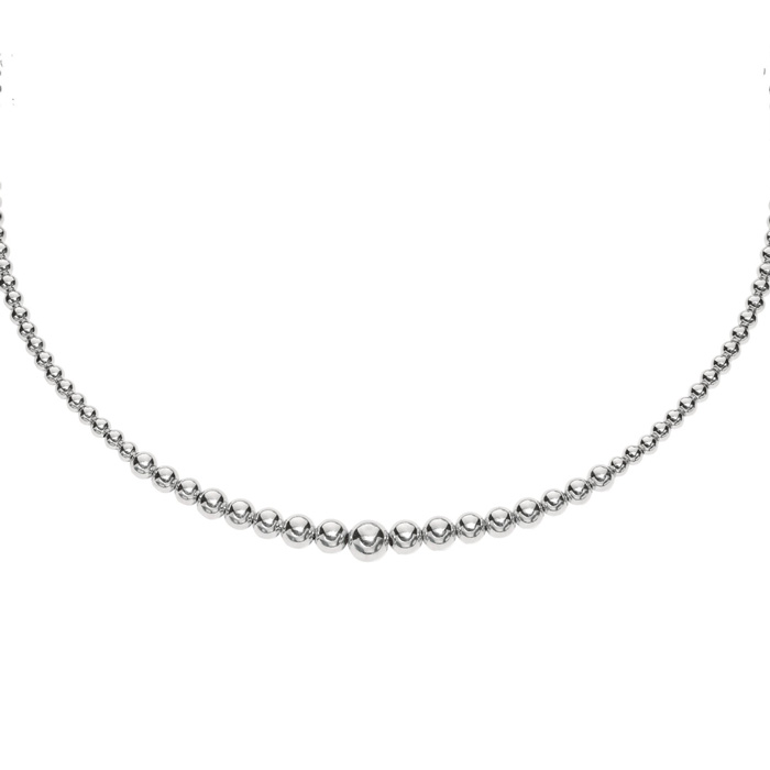 Fashion forward graduated bead sterling silver 17 inch necklace
