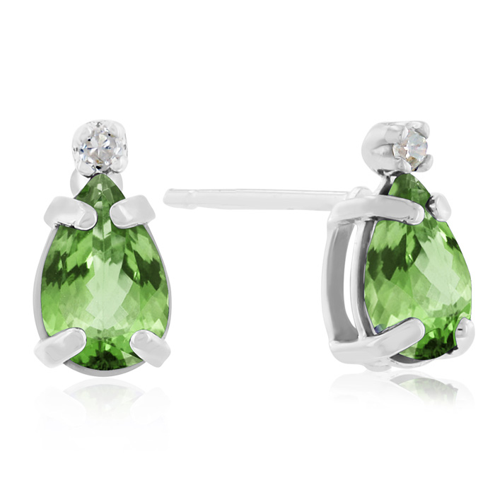 1ct Pear Peridot and Diamond Earrings in 14k White Gold
