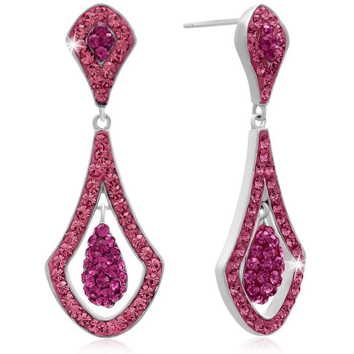 Elegant Pink Swarovski Elements Crystal Drop Earrings, 1 1/2 Inches