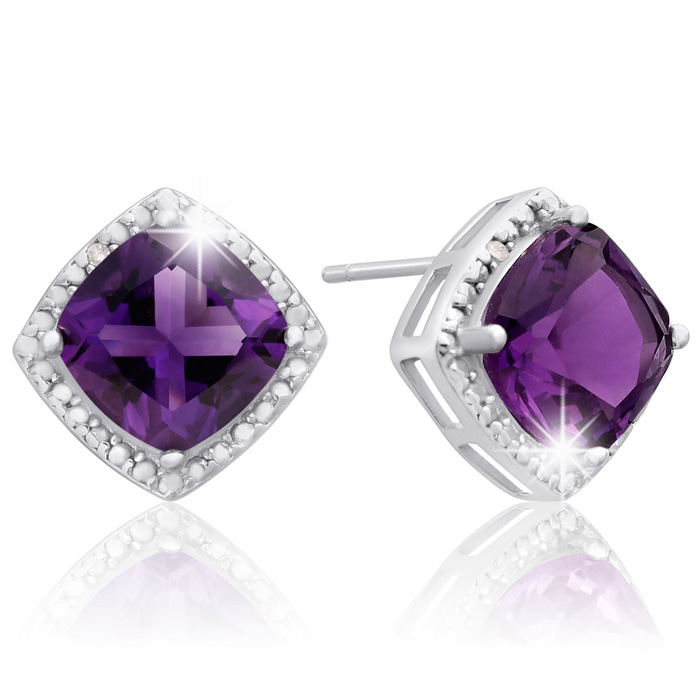 3 3/4 Carat Cushion Cut Amethyst and Diamond Earrings In Sterling Silver