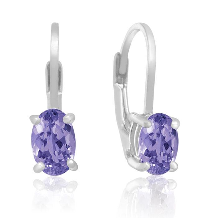 3/4ct Oval Tanzanite Drop Earrings
