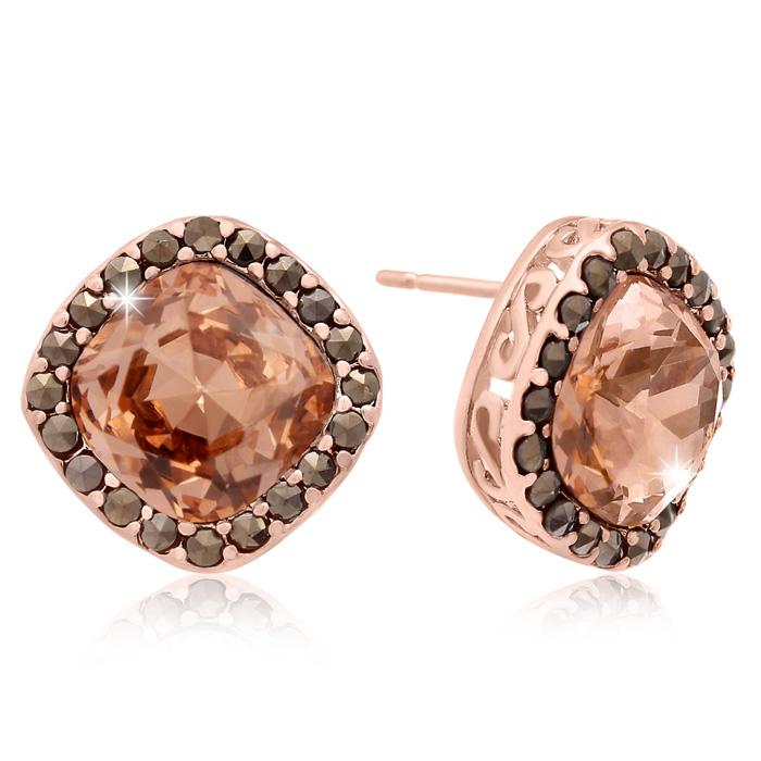 4ct Crystal Morganite and Marcasite Earrings
