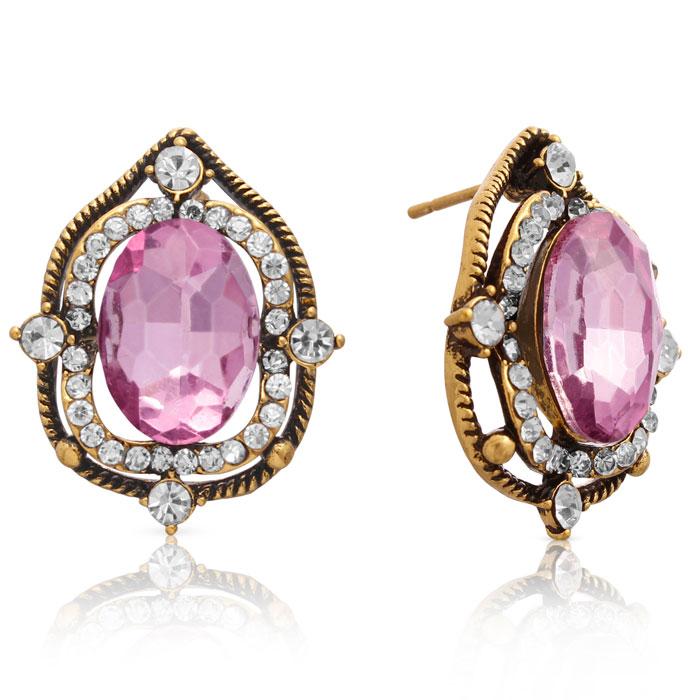 Ornate Swarovski Elements Pink Topaz Halo Stud Earrings, Gold Overlay, Pushbacks