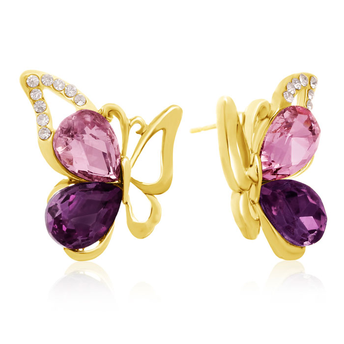 Amethyst Swarovski Elements Butterfly Stud Earrings, Gold Overlay, Pushbacks