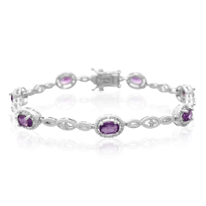 3 Carat Oval Shape Amethyst and Halo Diamond Bracelet, Platinum Overlay, 7 Inches