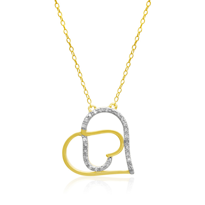 1/5 Carat Diamond Double Heart Necklace In 14k Gold Over Sterling Silver