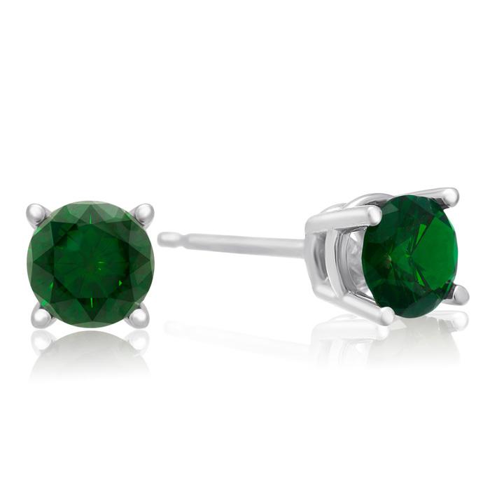 1/2 Carat Green Diamond Stud Earrings In White Gold