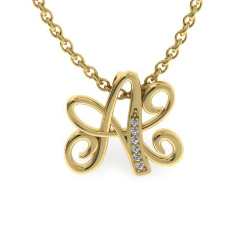 A Initial Necklace In Yellow Gold With 6 Diamonds