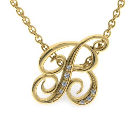 B Initial Necklace In Yellow Gold With 7 Diamonds