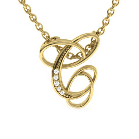 C Initial Necklace In Yellow Gold With 5 Diamonds