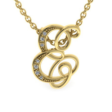 E Initial Necklace In Yellow Gold With 7 Diamonds