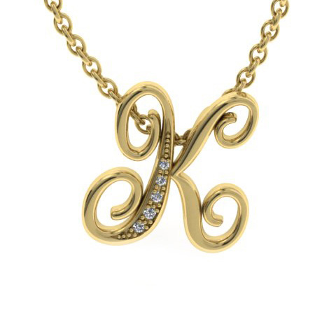 K Initial Necklace In Yellow Gold With 5 Diamonds