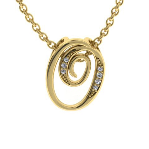 O Initial Necklace In Yellow Gold With 7 Diamonds