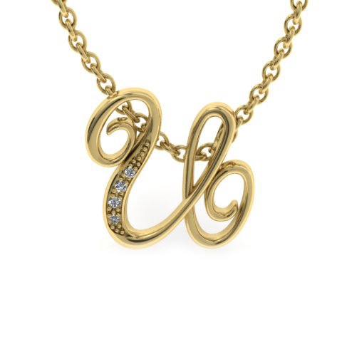 U Initial Necklace In Yellow Gold With 4 Diamonds