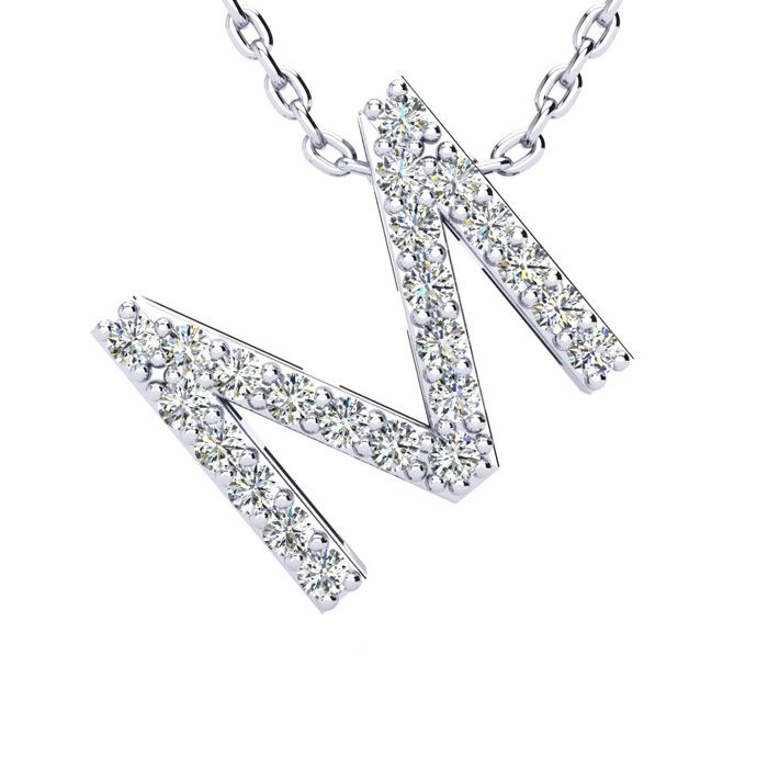 M Initial Necklace In White Gold With 23 Diamonds