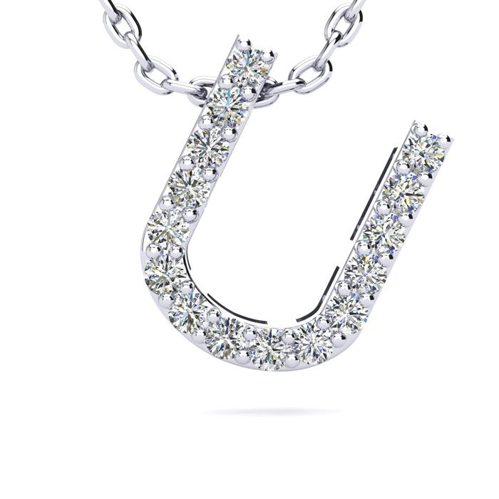 U Initial Necklace In White Gold With 15 Diamonds