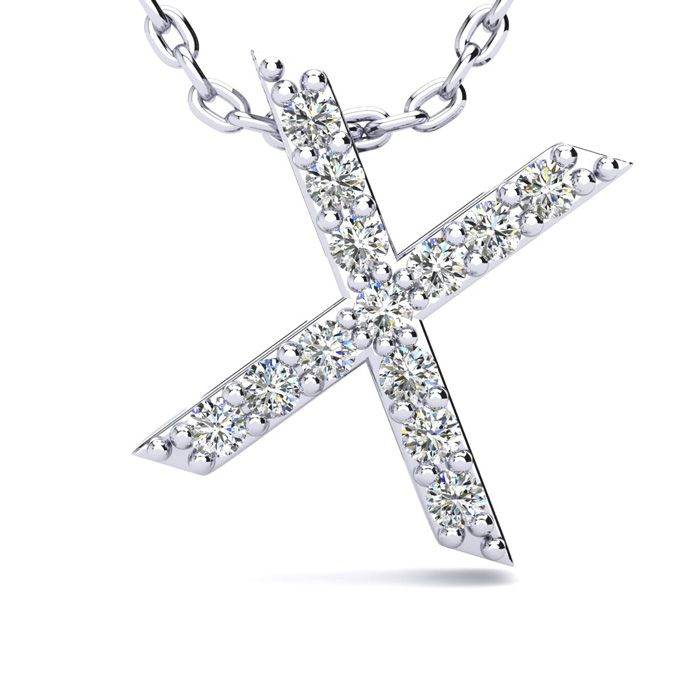 X Initial Necklace In White Gold With 13 Diamonds