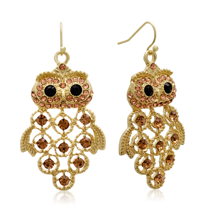 Black and Champagne Crystal Owl Earrings In Gold Overlay, 1 3/4 Inches