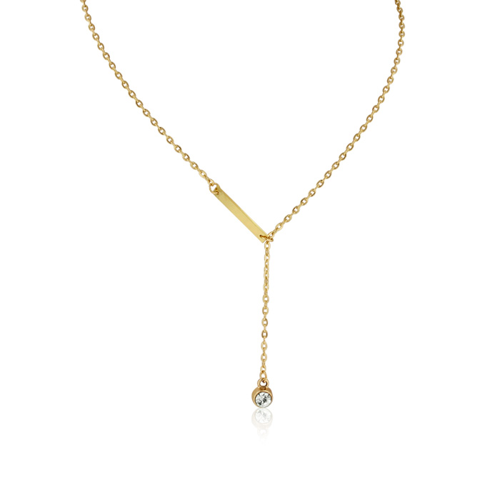 Bar and Crystal Lariat Necklace, Yellow Gold
