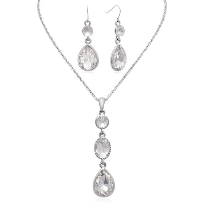 Three Stone Crystal Diamond Necklace With Matching Earrings