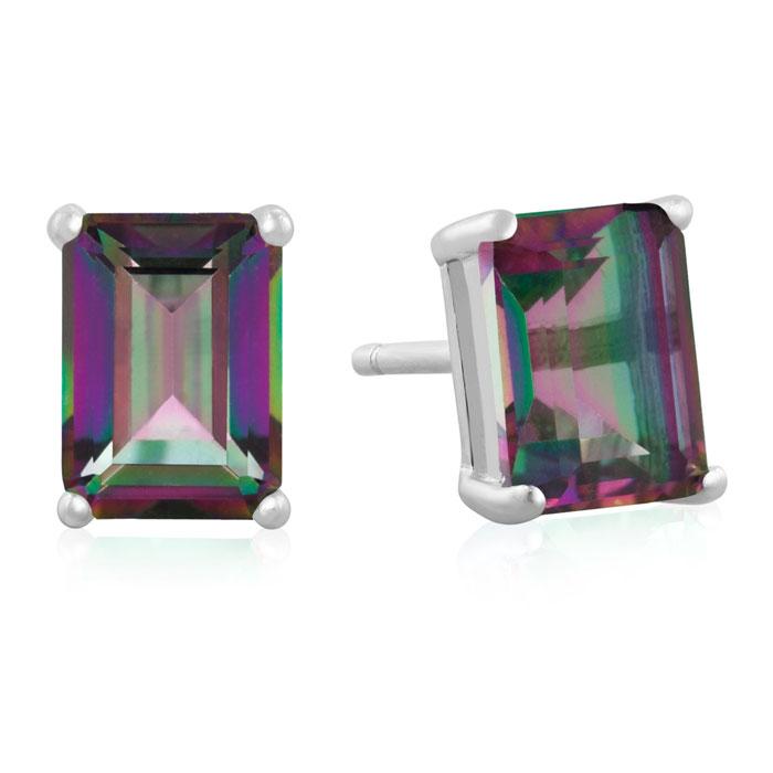 2 1/2ct Emerald Cut Mystic Topaz Earrings