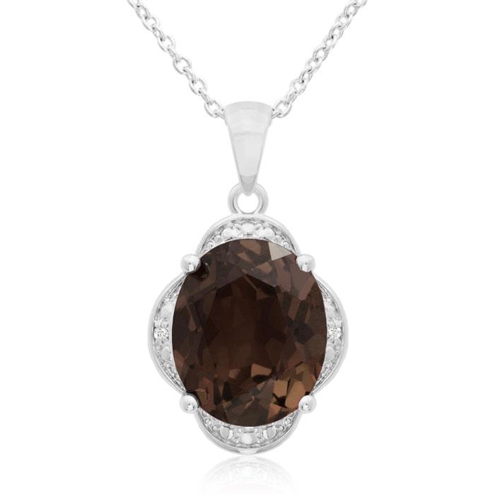 4ct Oval Smoky Quartz and Diamond Necklace