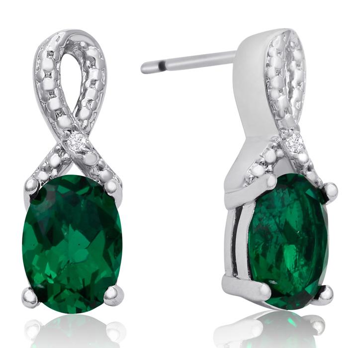 1 ½ Carat Emerald and Diamond Ribbon Stud Earrings
