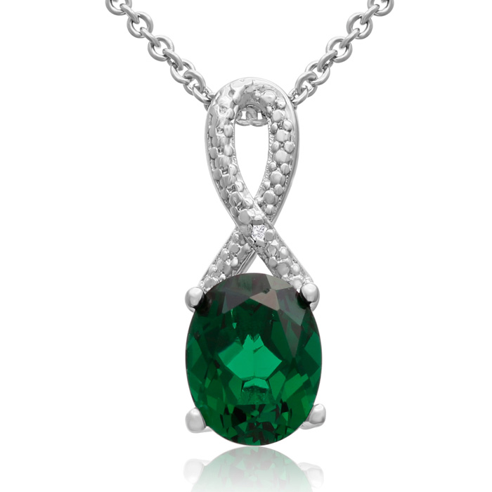 2 1/2 Carat Emerald and Diamond Ribbon Necklace, 18 Inches