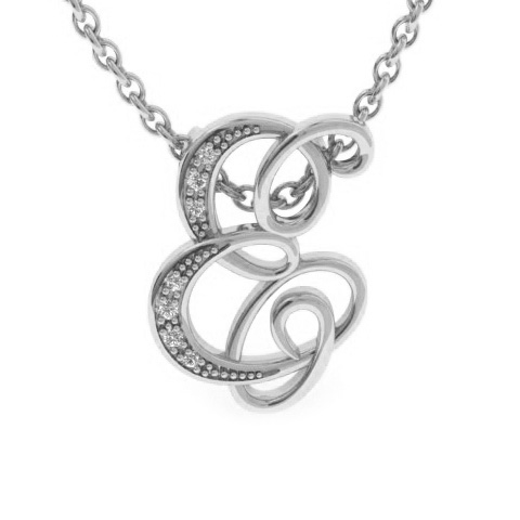 E Initial Necklace In White Gold With 7 Diamonds