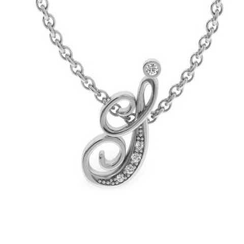 I Initial Necklace In White Gold With 5 Diamonds