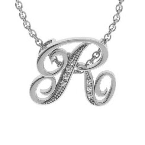 R Initial Necklace In White Gold With 7 Diamonds