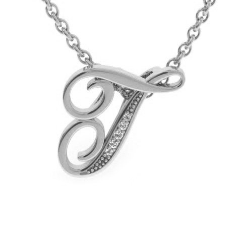 T Initial Necklace In White Gold With 5 Diamonds