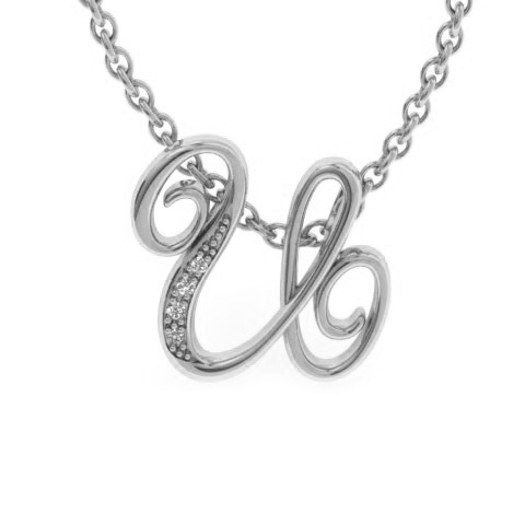 U Initial Necklace In White Gold With 4 Diamonds