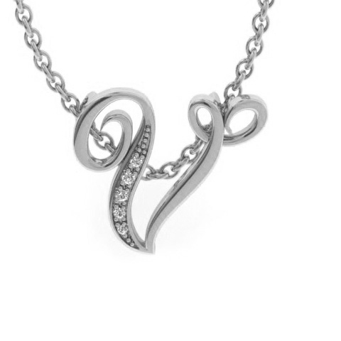 V Initial Necklace In White Gold With 5 Diamonds