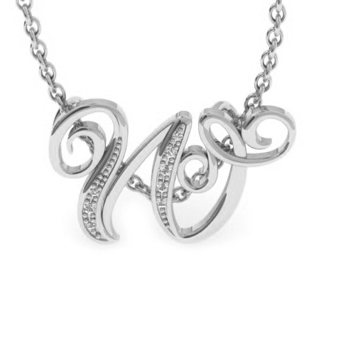 W Initial Necklace In White Gold With 7 Diamonds
