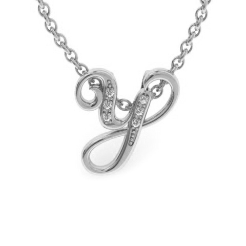Y Initial Necklace In White Gold With 6 Diamonds