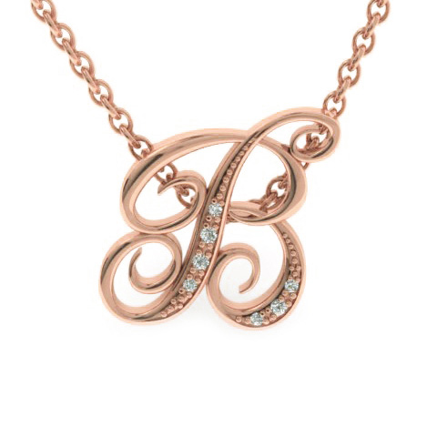 B Initial Necklace In Rose Gold With 7 Diamonds