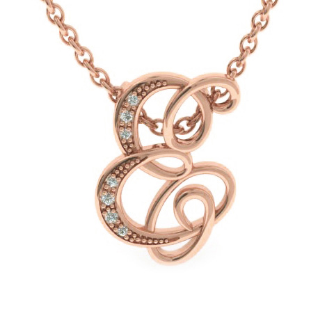 E Initial Necklace In Rose Gold With 7 Diamonds