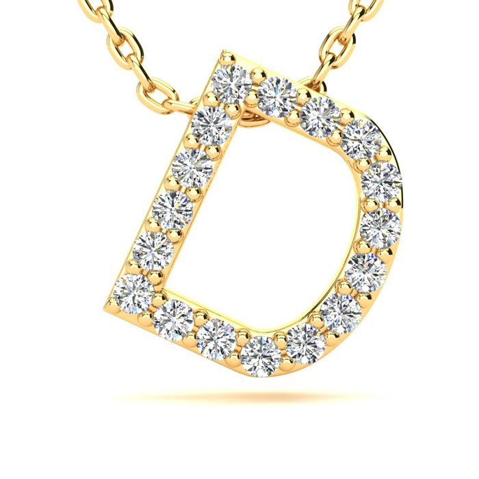 D Initial Necklace In Yellow Gold With 17 Diamonds