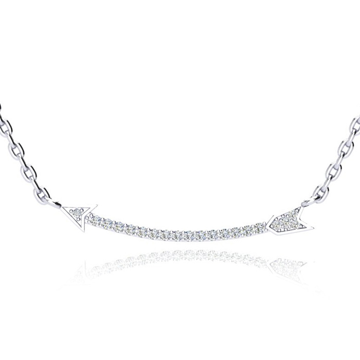 .15 Carat Diamond Arrow Necklace, Sterling Silver, 18 Inches