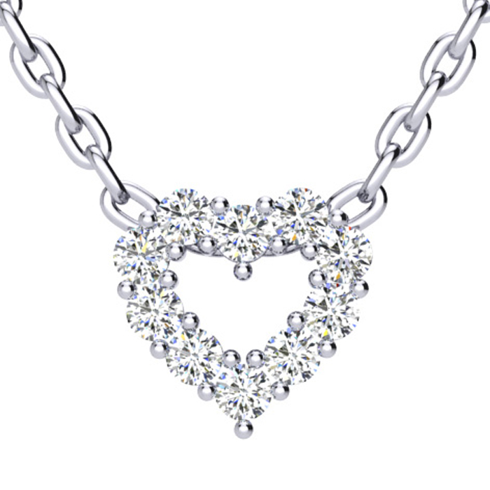 1/3 Carat Diamond Heart Necklace in Solid Sterling Silver