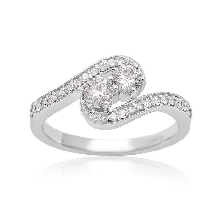 1/2 Carat Two Stone Diamond Swirl Ring In White Gold