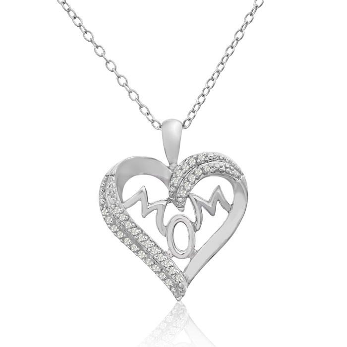 1/10 Carat Diamond I Heart Mom Necklace In Sterling Silver, 18 Inches
