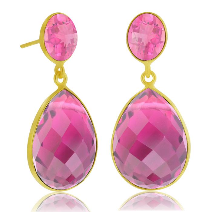 12 Carat Pear Shaped Raspberry Quartz Drop Earrings, 18 Karat Gold Overlay