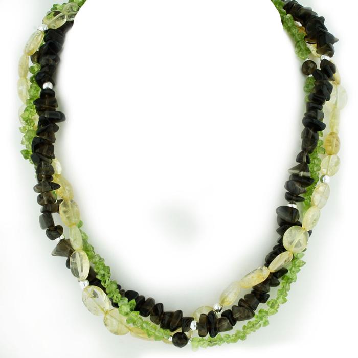 Natural Triple Strand Peridot, Smokey Quartz, and Lemon Crystal Necklace, Sterling Silver