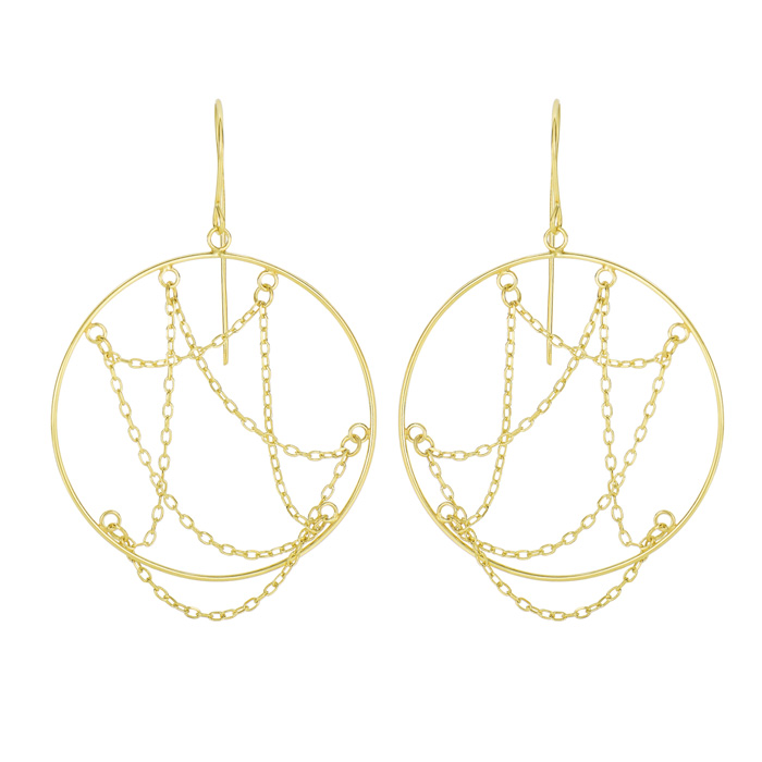 14 Karat Yellow Gold Polish Finished Cascading Chain Circle Dangle Earring With Fishhook Backs, 1 1/2 Inches