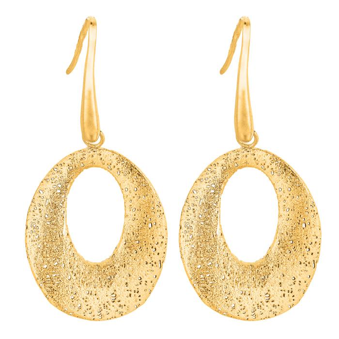 14 Karat Yellow Gold 25x25mm Porous Oval Shaped Earrings With Fishhook Backs