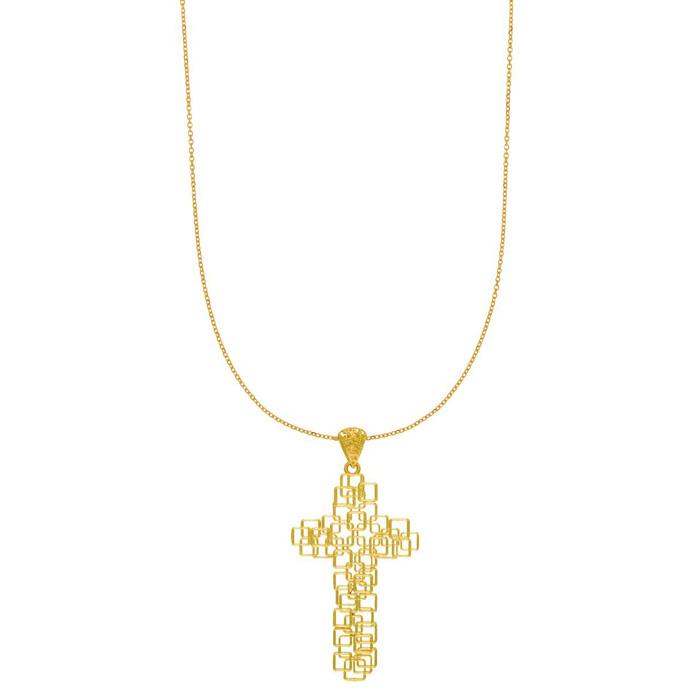 14 Karat Yellow Gold 30x60mm Geometric Cross Necklace, 18 inches